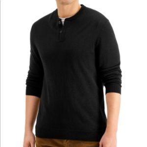Club Room Men's Merino Solid Henley Sweater,